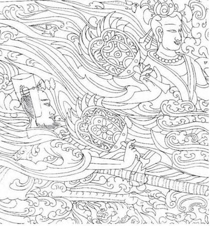手绘莲花雕刻图案